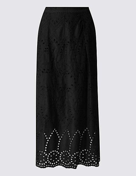 Pure Cotton Cutwork Detail A-Line Skirt