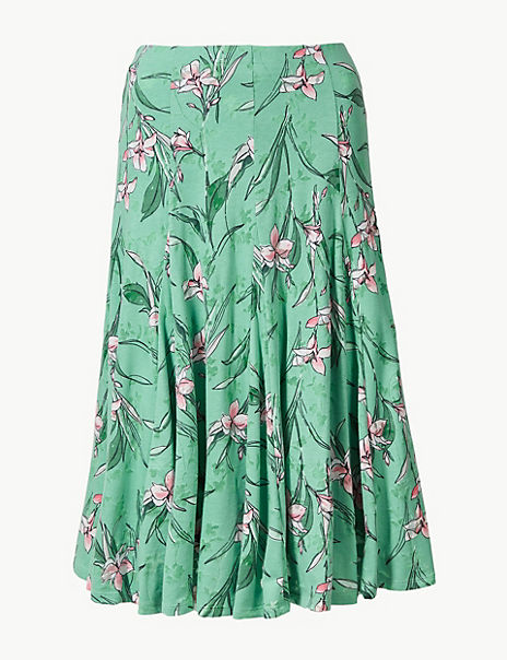 Floral Print Jersey Fit & Flare Skirt