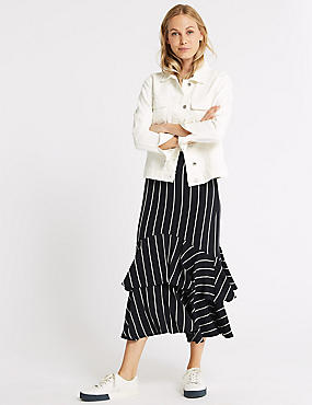 Striped Fishtail Midi Skirt