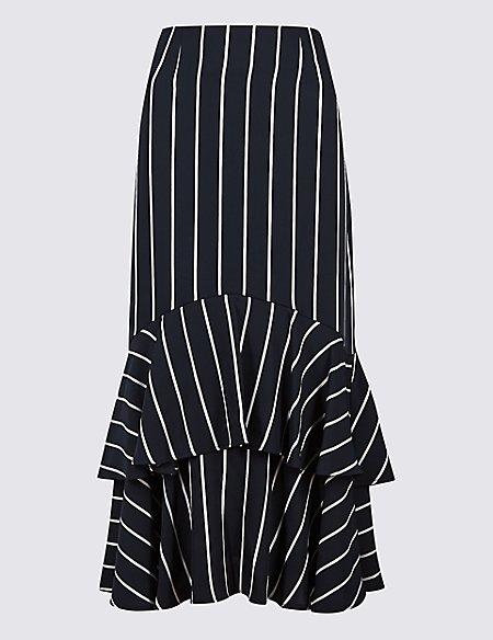 Striped Fishtail Midi Skirt