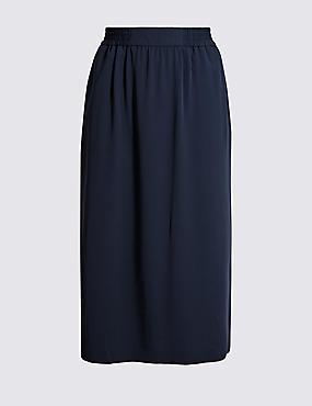 Split Side Column Midi Skirt