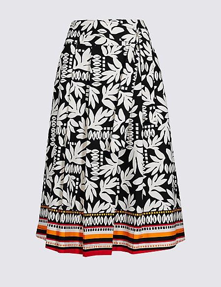 Cotton Rich Printed A-Line Midi Skirt