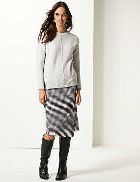 Checked Pencil Midi Skirt with Wool
