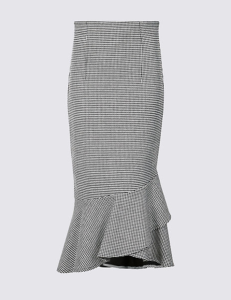 Checked Fishtail Midi Skirt