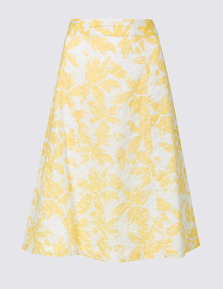 Pure Cotton Broderie A-Line Midi Skirt