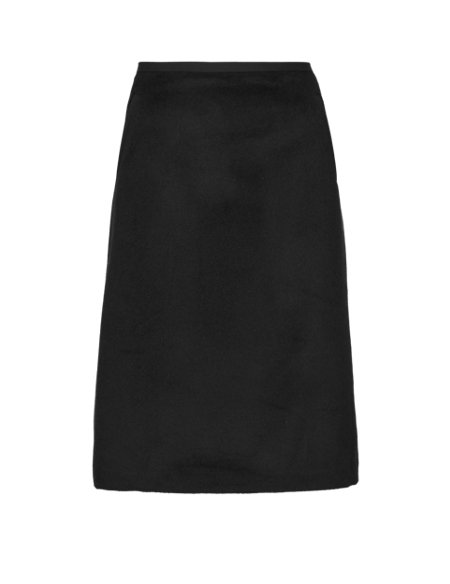 Contrast Trim Pockets A-Line Skirt with New Wool