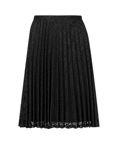 Pleated Floral Lace Knee Length A-Line Skirt