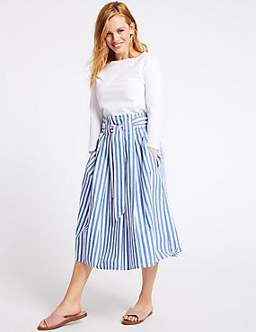PETITE Pure Cotton Striped Full Midi Skirt