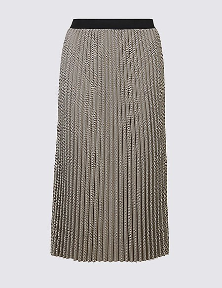 Checked Pleated A-Line Midi Skirt
