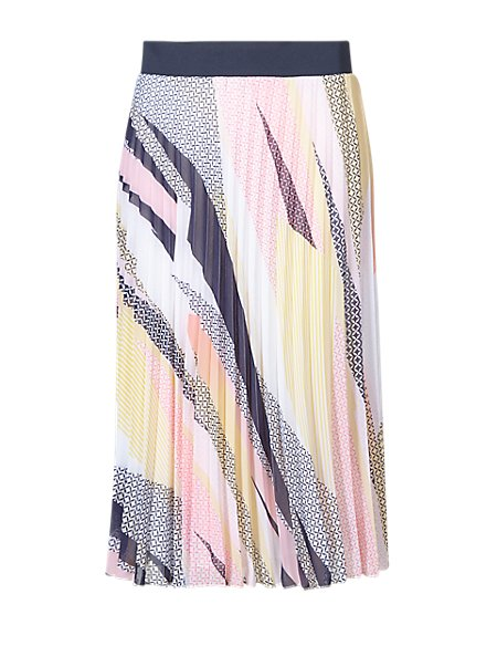 Miami Print Pleated Skirt