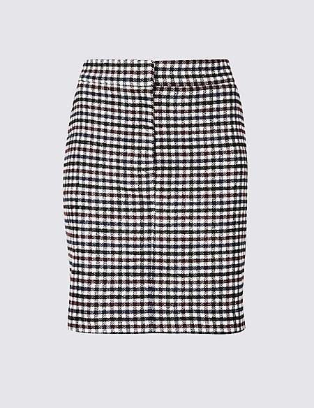Checked A-Line Mini Skirt with Wool