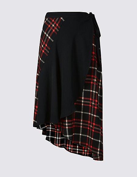 Checked Wrap Midi Skirt
