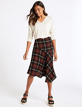 Checked Asymmetrical Midi Skirt