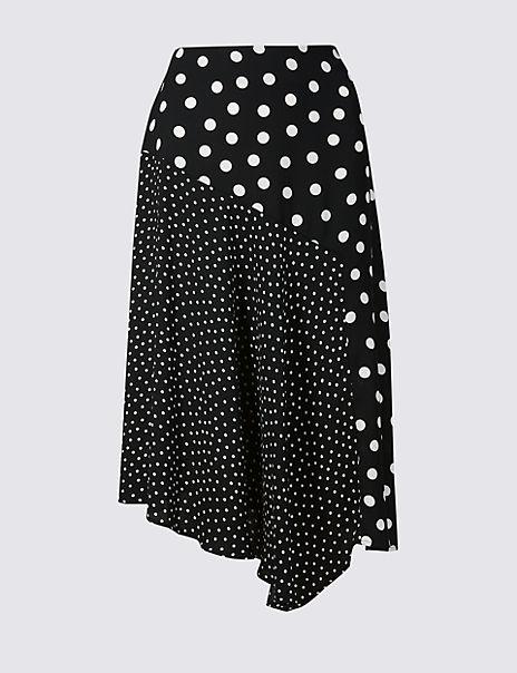 Spotted Asymmetrical Midi Skirt
