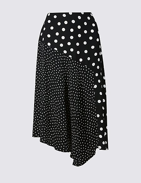 Spotted Asymmetrical Midi Skirt