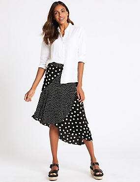 Spotted Wrap Midi Skirt