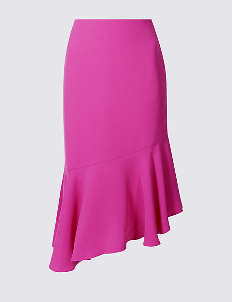 Asymmetrical Flared Hem A-Line Midi Skirt