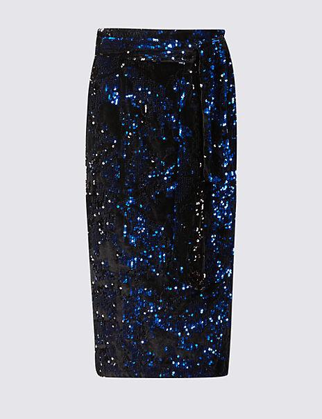 Embellished Sequin Pencil Midi Skirt