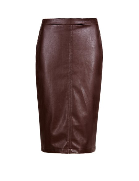 Faux Leather Panelled Pencil Skirt