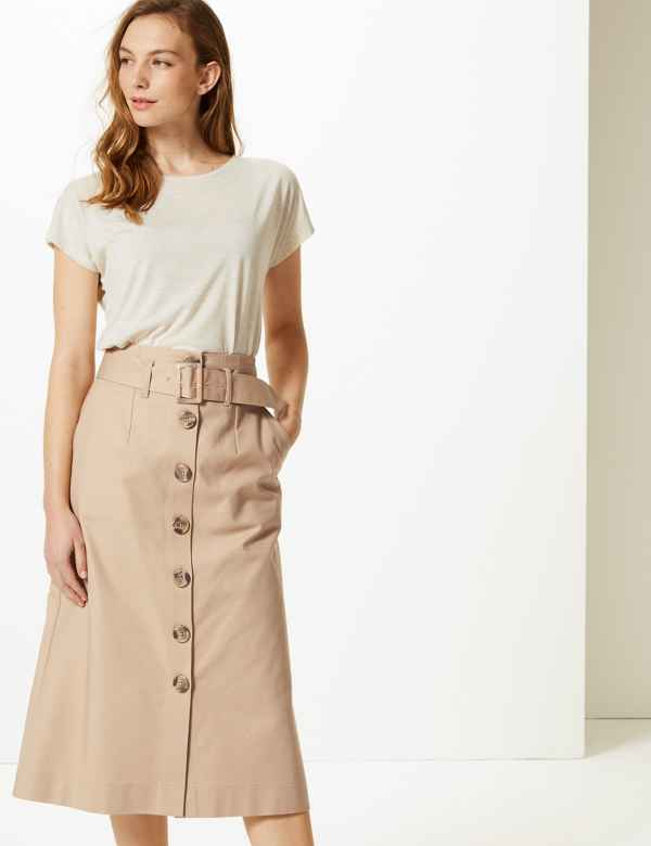 d80c5b11a3eb0 Button Detailed Fit   Flare Skirt