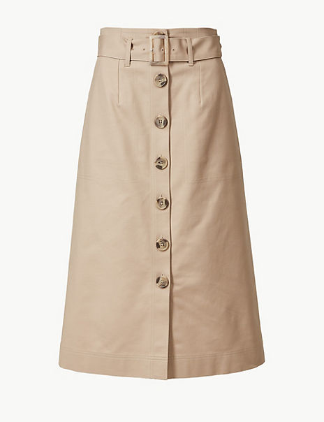 Button Detailed Fit & Flare Skirt