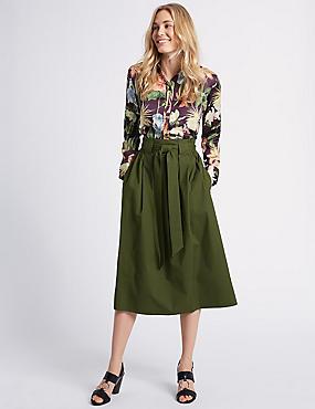 Cotton Rich A-Line Midi Skirt