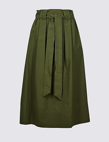 Marks & Spencer Cotton Rich A-Line Midi Skirt - - 14 Supply For Sale Quality Free Shipping Outlet Wide Range Of Cheap Price Browse From China Sale Online DUq6j7