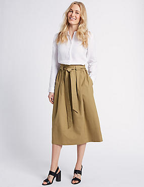 Cotton Rich A-Line Midi Skirt