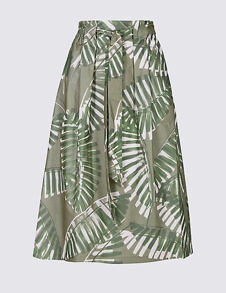 Cotton Rich Palm Print A-Line Midi Skirt