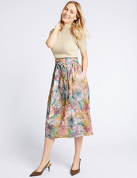 Cotton Blend Floral Print Full Midi Skirt pink mix Marks and Spencer Authentic Gi9zp