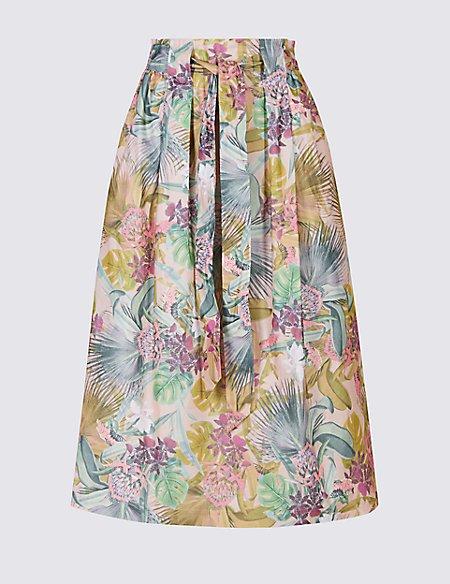 Cotton Rich Floral Print A-Line Midi Skirt