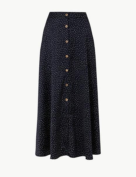 Polka Dot A-Line Maxi Skirt
