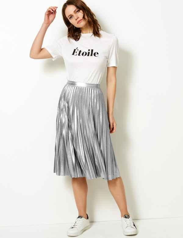 40c714f5b9 Metallic Jersey Pleated Skirt