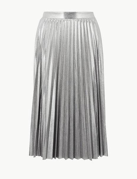 Metallic Jersey Pleated Skirt