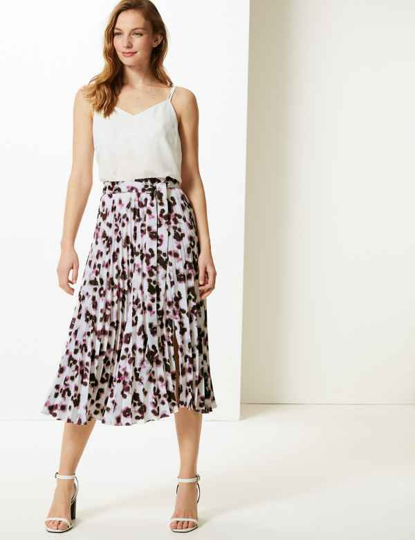 08ddf289c8 Animal Print Pleated Midi Skirt