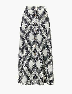 56ec8e22f34 Diamond Print Button Detailed A-Line Maxi Skirt £39.50