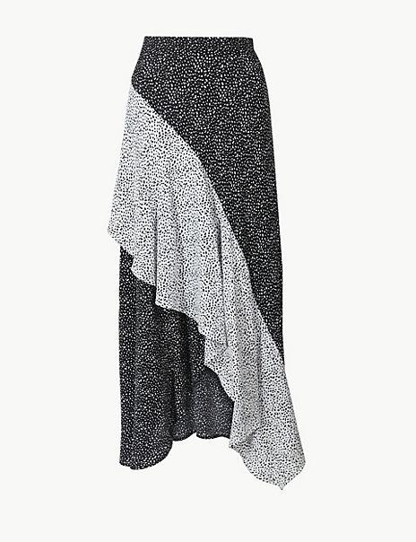 Polka Dot Wrap Style Midi Skirt