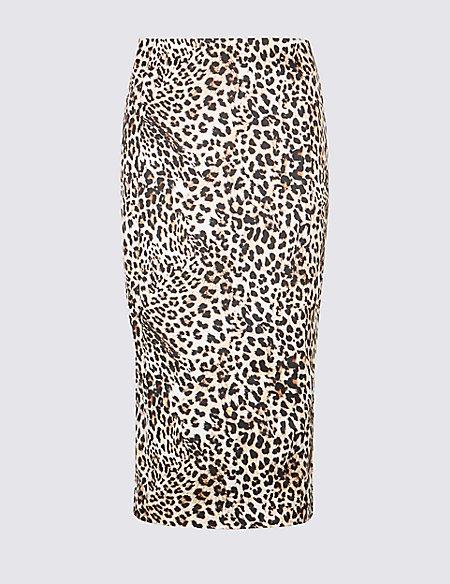 Leopard Print Satin Pencil Midi Skirt