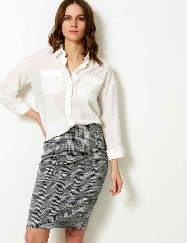 b00d5c9444b Checked Pencil Skirt