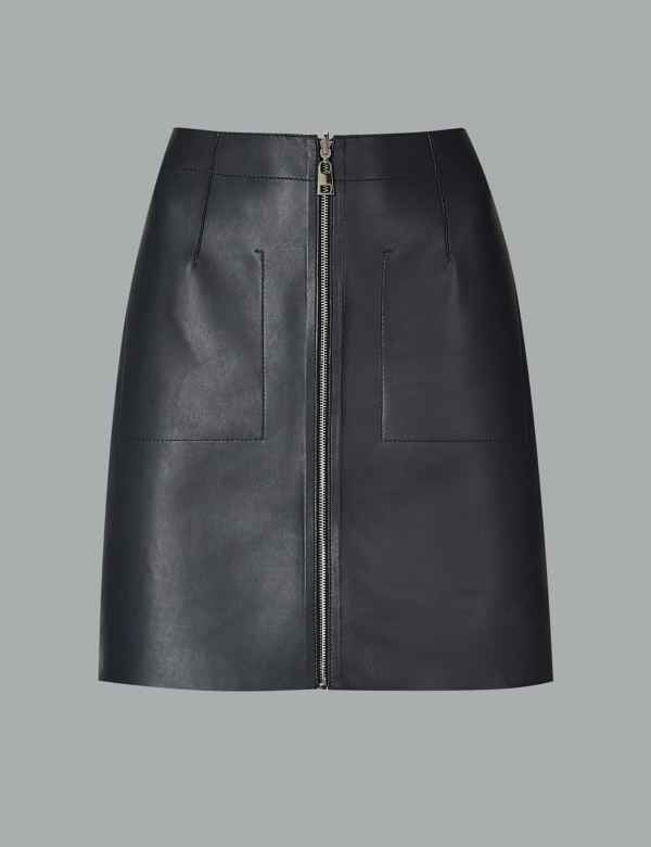 956ba6f8b99 Leather Reversible Mini Skirt. Autograph