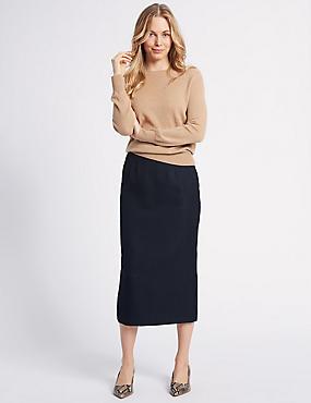 Textured Pencil Midi Skirt