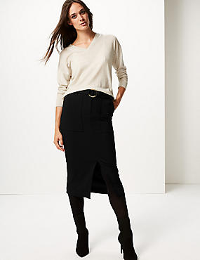 Patch Pocket Front Split Pencil Midi Skirt
