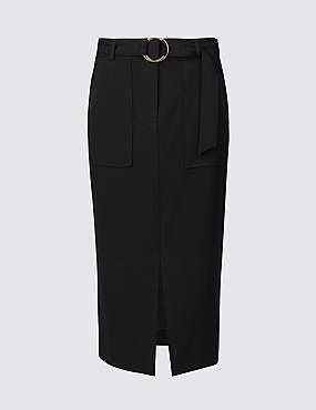 Patch Pocket Front Split Pencil Midi Skirt