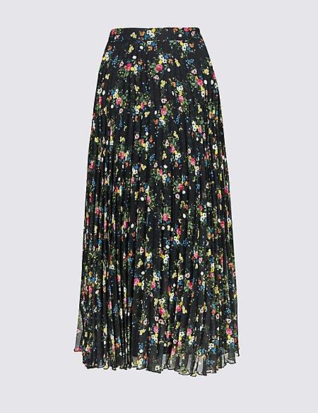 Floral Print Pleated A-Line Midi Skirt