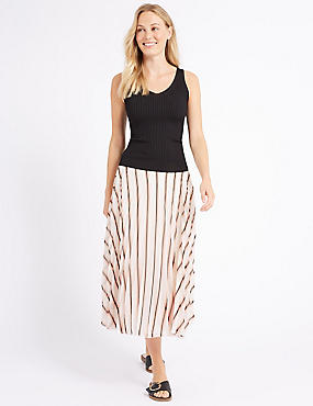 Striped Pleat Midi Skirt