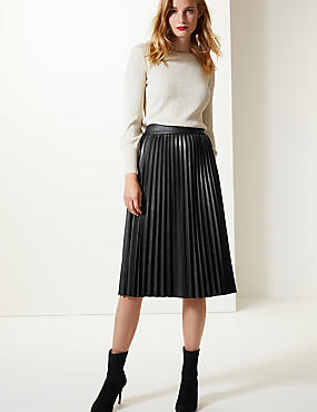 Faux Leather Pleated Midi Skirt