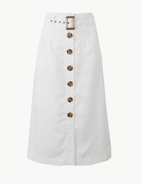 Linen Blend Button Detail Fit & Flare Skirt