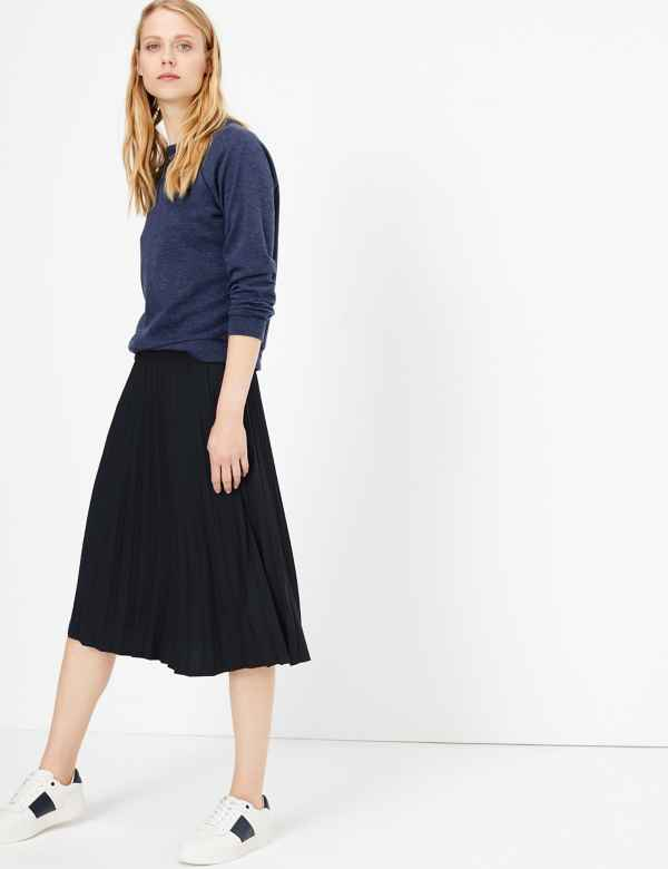 ba9fa9a4d0 Jersey Pleated A-Line Midi Skirt