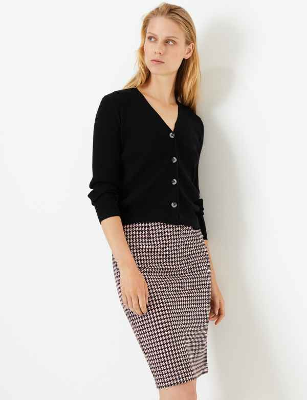 6ab9c129f Jersey Dogtooth Pencil Skirt