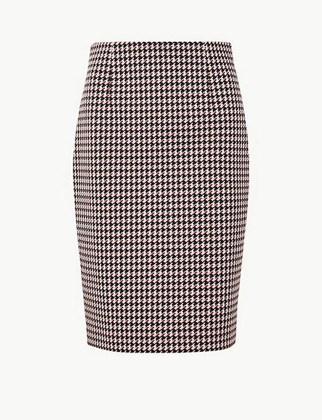 Jersey Dogtooth Pencil Skirt